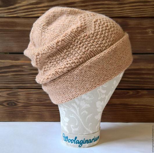 Шапки ручной работы. Ярмарка Мастеров - ручная работа. Купить Карамельная удлиненная шапочка бини. Handmade. Бежевый, удлиненная шапка