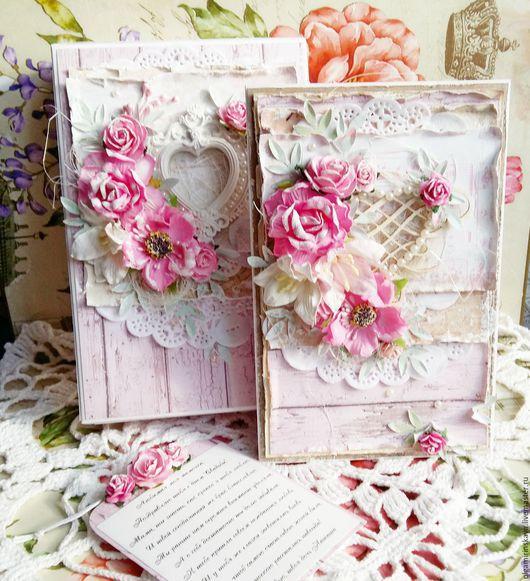 Свадебные открытки ручной работы. Ярмарка Мастеров - ручная работа. Купить Свадебный комплект: открытка и коробочка. Handmade. Бледно-розовый