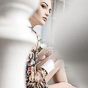 Одежда ручной работы. Ярмарка Мастеров - ручная работа Платье с воротничком из хлопка. Handmade.