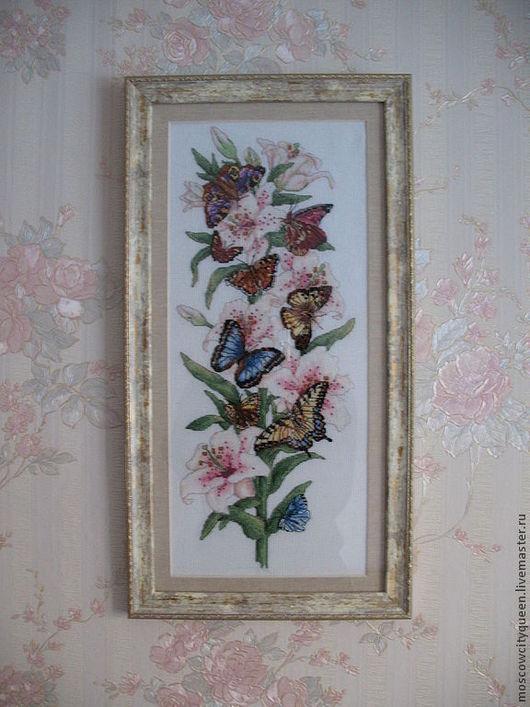 Картины цветов ручной работы. Ярмарка Мастеров - ручная работа. Купить картина вышивка крестом Душистая лилия. Handmade. вышивка