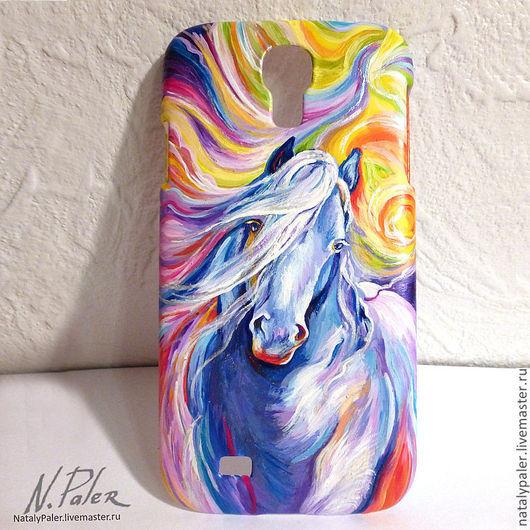 """Для телефонов ручной работы. Ярмарка Мастеров - ручная работа. Купить роспись чехла для телефона. """"Фантастическая Голубая Лошадь"""". Handmade."""