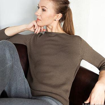 Одежда ручной работы. Ярмарка Мастеров - ручная работа Вязаный свитер с вырезом-лодочка. Handmade.