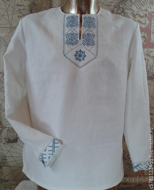 """Для мужчин, ручной работы. Ярмарка Мастеров - ручная работа. Купить Рубаха """"Цветок Папоротника"""". Handmade. Белый, нитки для вышивки"""