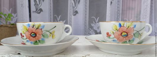 Винтажная посуда. Ярмарка Мастеров - ручная работа. Купить Чайная пара 1930-е годы. Первомайский ФАРФОР. Handmade. Черный