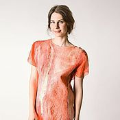 Одежда handmade. Livemaster - original item Coral felt dress. Handmade.