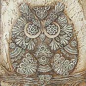 Картина Филин добрый декоративное панно