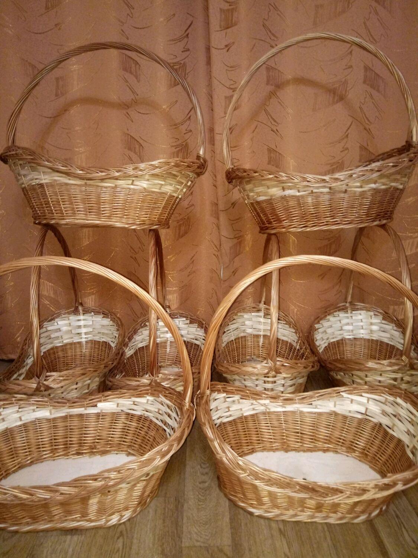плетеные корзинки из лозы для подарков и цветов, Кашпо, Москва, Фото №1