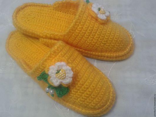 Обувь ручной работы. Ярмарка Мастеров - ручная работа. Купить Тапочки вязаные крючком. Handmade. Комбинированный, пряжа, шерстяная пряжа
