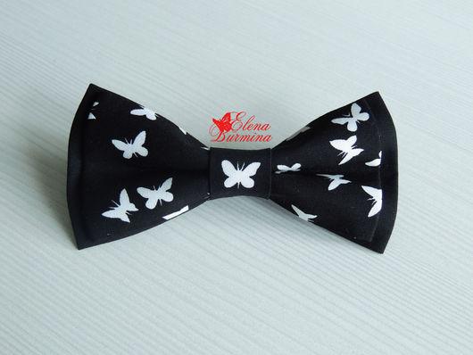 Галстуки, бабочки ручной работы. Ярмарка Мастеров - ручная работа. Купить Бабочка галстук с бабочками, хлопок. Handmade. Чёрно-белый