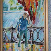 Картины и панно ручной работы. Ярмарка Мастеров - ручная работа Поцелуй под дождем  (картина масло). Handmade.