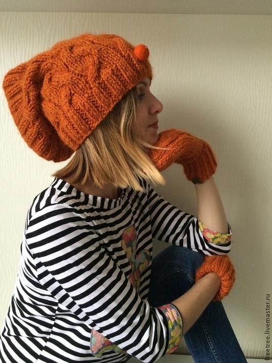 Шарфы и шарфики ручной работы. Ярмарка Мастеров - ручная работа. Купить Снуд трансформирующийся в шапо морковного цвета на подкладе в полоску. Handmade.