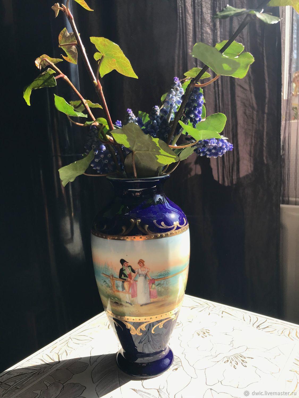 Vases 'Meetings', handmade, cobalt, gilding, England, Vintage interior, Arnhem,  Фото №1