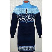 Одежда handmade. Livemaster - original item Sweater dress knitted for feeding New (blue). Handmade.
