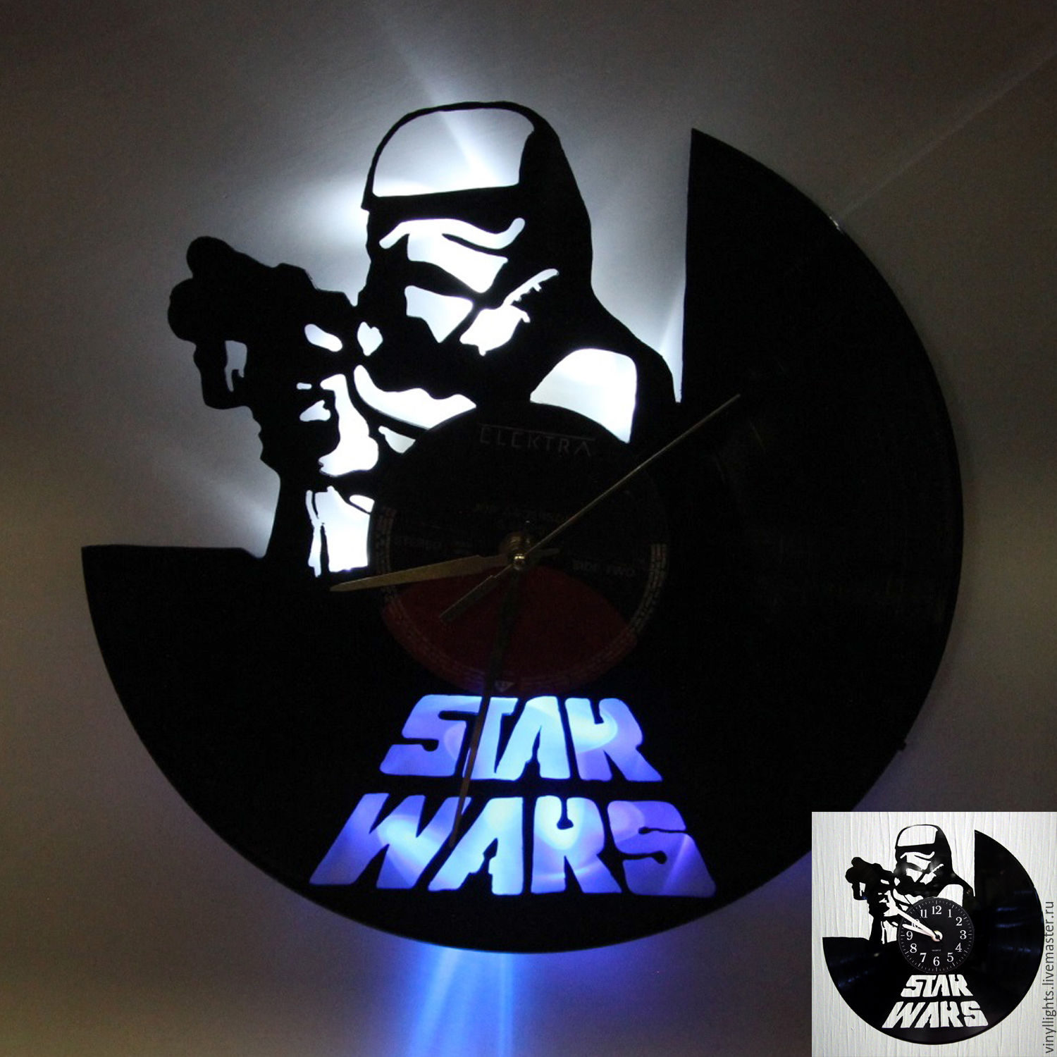 Wall Clock With Backlight From Vinyl Stormtrooper Shop Online On