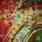 """Аксессуары ручной работы. Ярмарка Мастеров - ручная работа Шёлковый батик платок """"Осень в моём городе"""". Handmade."""