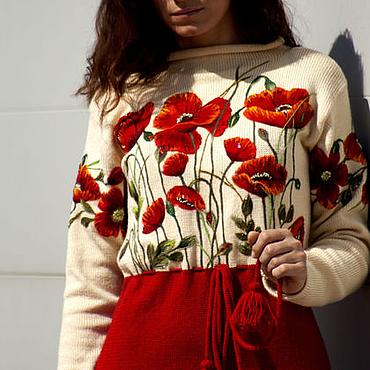 Одежда ручной работы. Ярмарка Мастеров - ручная работа Коктейльное красное вязаное женское платье с вышивкой маки. Handmade.