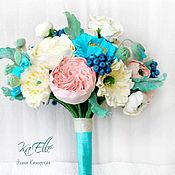 Свадебный салон ручной работы. Ярмарка Мастеров - ручная работа Свадебный букет с голубыми маками. Handmade.