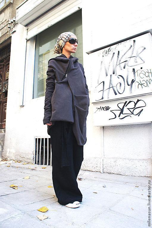 Верхняя одежда ручной работы. Ярмарка Мастеров - ручная работа. Купить Пальто Asymmetric  Dark Cappuccino. Handmade. Верхняя одежда