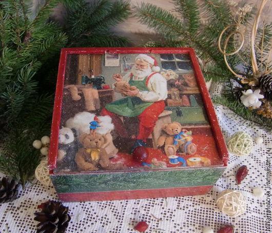 Короб декупаж, короб для рукодельницы, коробка декупаж, короб для игрушек, новогодний короб, декупаж Ирины Налетовой