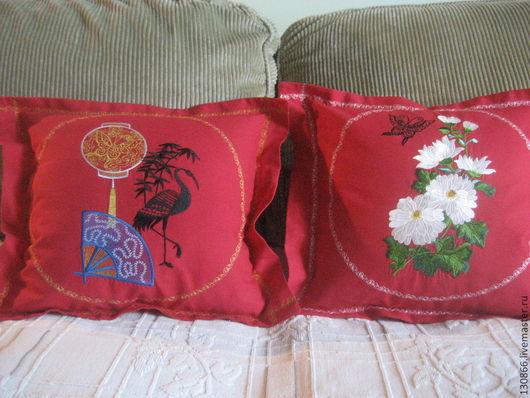 Текстиль, ковры ручной работы. Ярмарка Мастеров - ручная работа. Купить Китайские мотивы. Handmade. Ярко-красный, подарок подруге