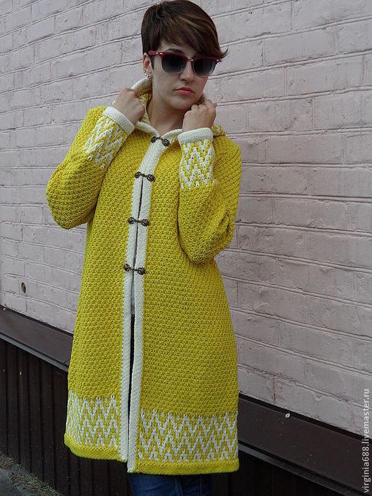 Верхняя одежда ручной работы. Ярмарка Мастеров - ручная работа. Купить летнее пальто Sunshine. Handmade. Желтый, вязание спицами