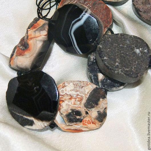 Для украшений ручной работы. Ярмарка Мастеров - ручная работа. Купить ОБРАТНАЯ СТОРОНА натуральный черный агат бусины срезы крупные. Handmade.