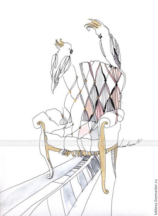 """Город ручной работы. Ярмарка Мастеров - ручная работа. Купить """"Кресло с попугаями"""" интерьерная графика. Handmade. Золотой, интерьерная графика"""