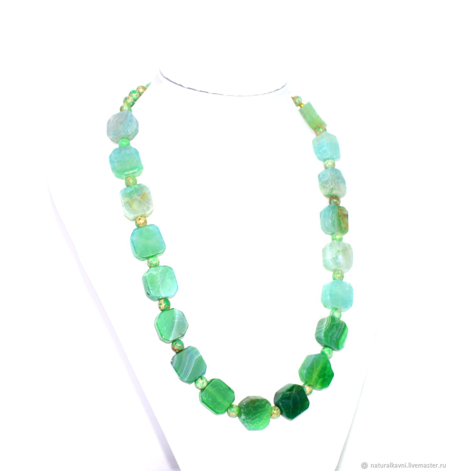 Necklace/beads from natural agate'dragon veins' and variscite, Necklace, Moscow,  Фото №1