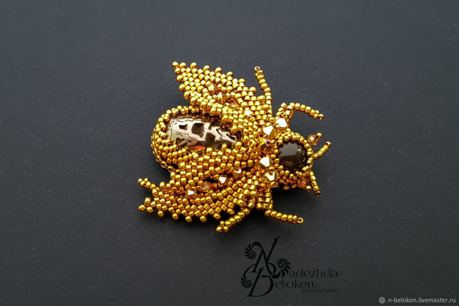 The gold bug of precious beads 24K. cover gold, Brooches, Ulyanovsk,  Фото №1