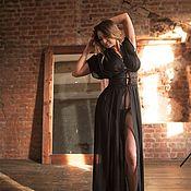 """Одежда ручной работы. Ярмарка Мастеров - ручная работа Пеньюар-трансформер """"Дыхание ночи"""" - черный длинный в греческом стиле. Handmade."""