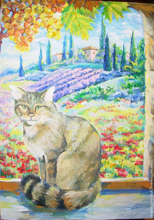 Пейзаж ручной работы. Ярмарка Мастеров - ручная работа. Купить Картина Кошка Под солнцем Италии Холст Акрил Размер 70х50 см. Handmade.