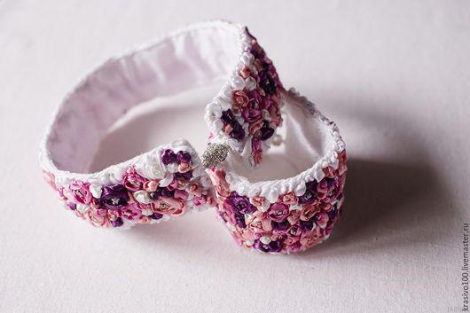 Браслеты ручной работы. Ярмарка Мастеров - ручная работа. Купить Браслет Цветы с вышивкой белый. Handmade. Браслет цветы