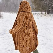 Одежда handmade. Livemaster - original item cardigans: Women`s knitted cardigan coat in camel color with a hood. Handmade.