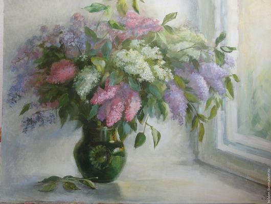 Картины цветов ручной работы. Ярмарка Мастеров - ручная работа. Купить Май на окне. Handmade. Зеленый, цветы, картина с цветами