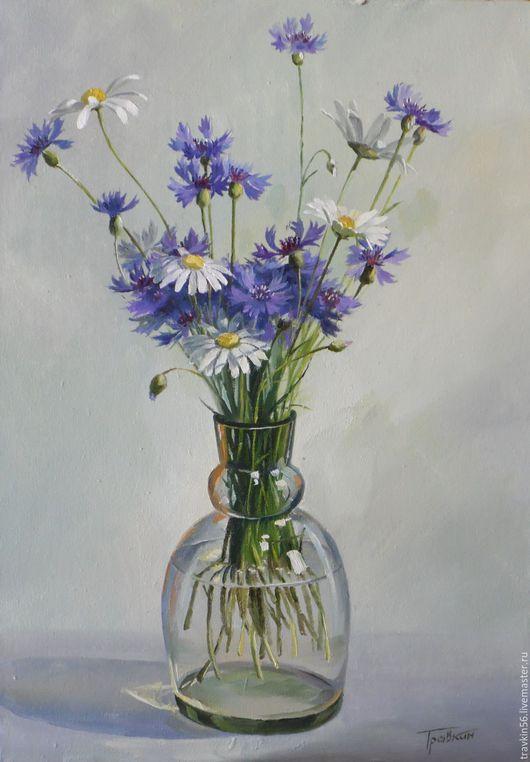 Натюрморт ручной работы. Ярмарка Мастеров - ручная работа. Купить Полевые цветы. Handmade. Картина, букет, васильки, ваза, разноцветный