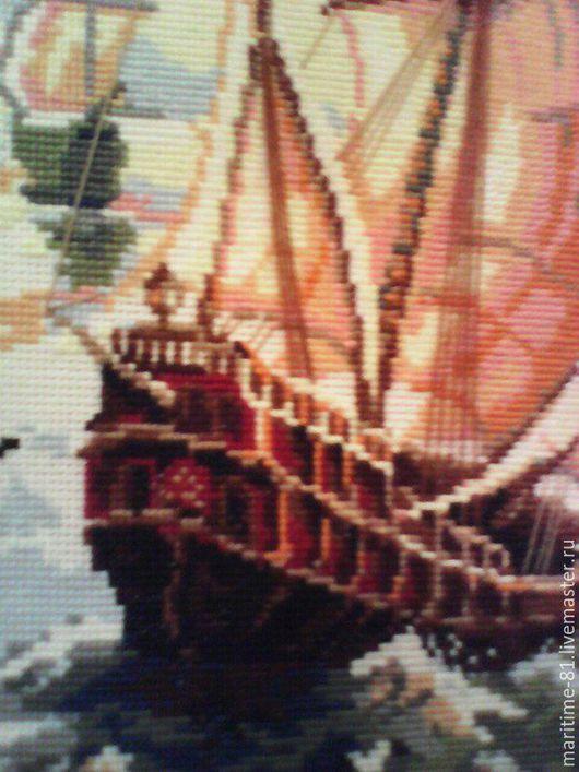 """Текстиль, ковры ручной работы. Ярмарка Мастеров - ручная работа. Купить Картина """"Корабль"""" вышитая крестом. Handmade. Вышивка крестом"""