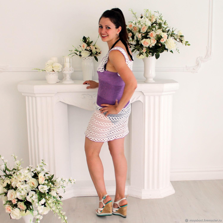 4760ddaf4da Заказать Сиренево - белое летнее мини платье крючком с красивым декольте.