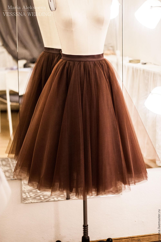 Фатин коричневый для юбки