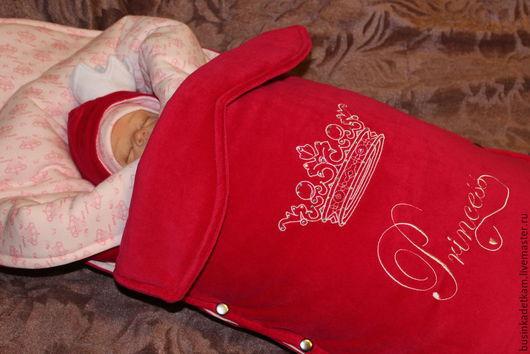 """Для новорожденных, ручной работы. Ярмарка Мастеров - ручная работа. Купить Теплый комплект на выписку """"Королевский"""" для девочки. Handmade. Фуксия"""