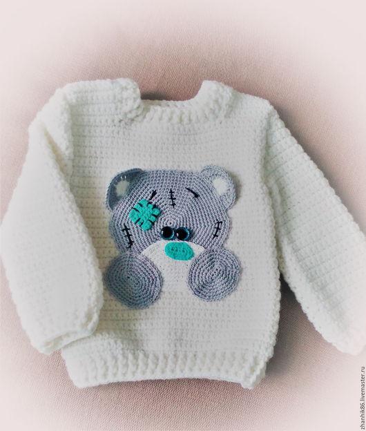 """Одежда для мальчиков, ручной работы. Ярмарка Мастеров - ручная работа. Купить Джемпер для мальчика """"Малыш Тедди"""". Handmade. Белый"""