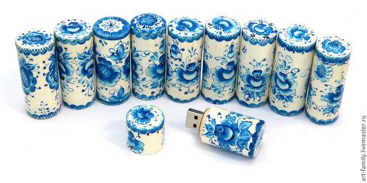 """Компьютерные ручной работы. Ярмарка Мастеров - ручная работа. Купить флешка """"гжель"""". Handmade. Синий, гжель, флешка подарочная"""