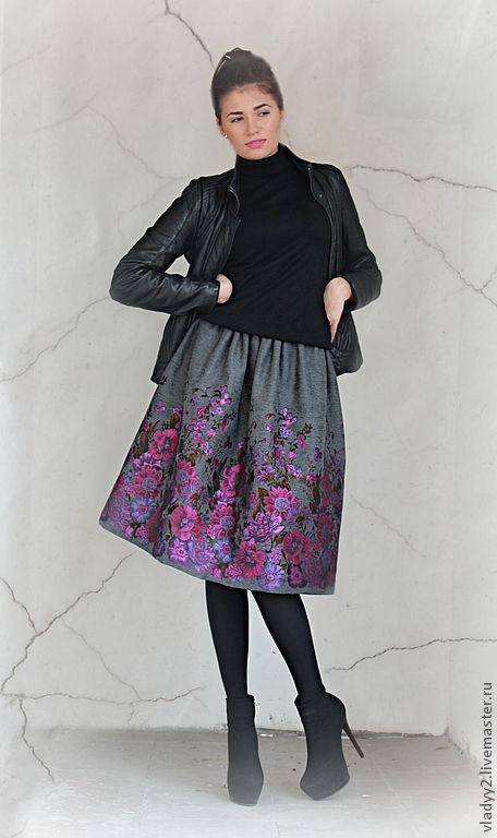 Юбки ручной работы. Ярмарка Мастеров - ручная работа. Купить юбка из купонной ткани-3.ткань в наличии. Handmade. Серый