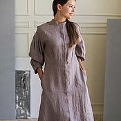 Одежда handmade. Livemaster - original item Linen dress with a latte-colored stand-up collar. Handmade.