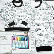 """Одежда ручной работы. Ярмарка Мастеров - ручная работа Свитшот-раскраска """"Транспорт"""". Handmade."""