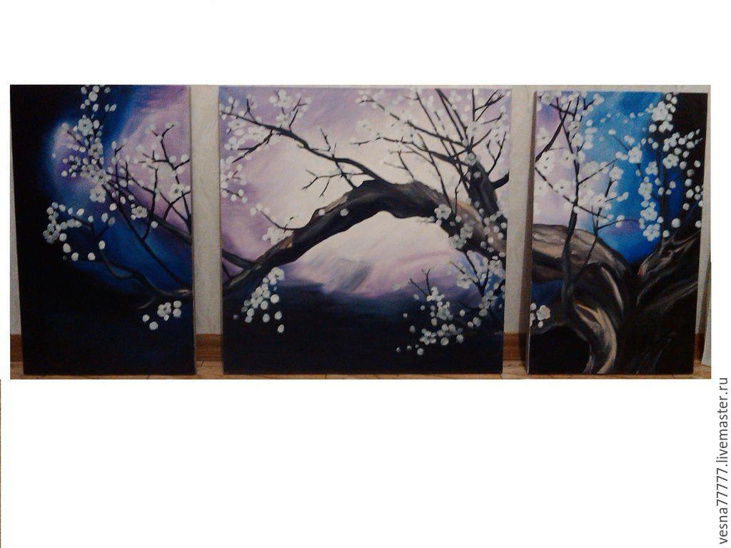 "Модульная картина ""Ночная сакура"", Картины, Сочи,  Фото №1"