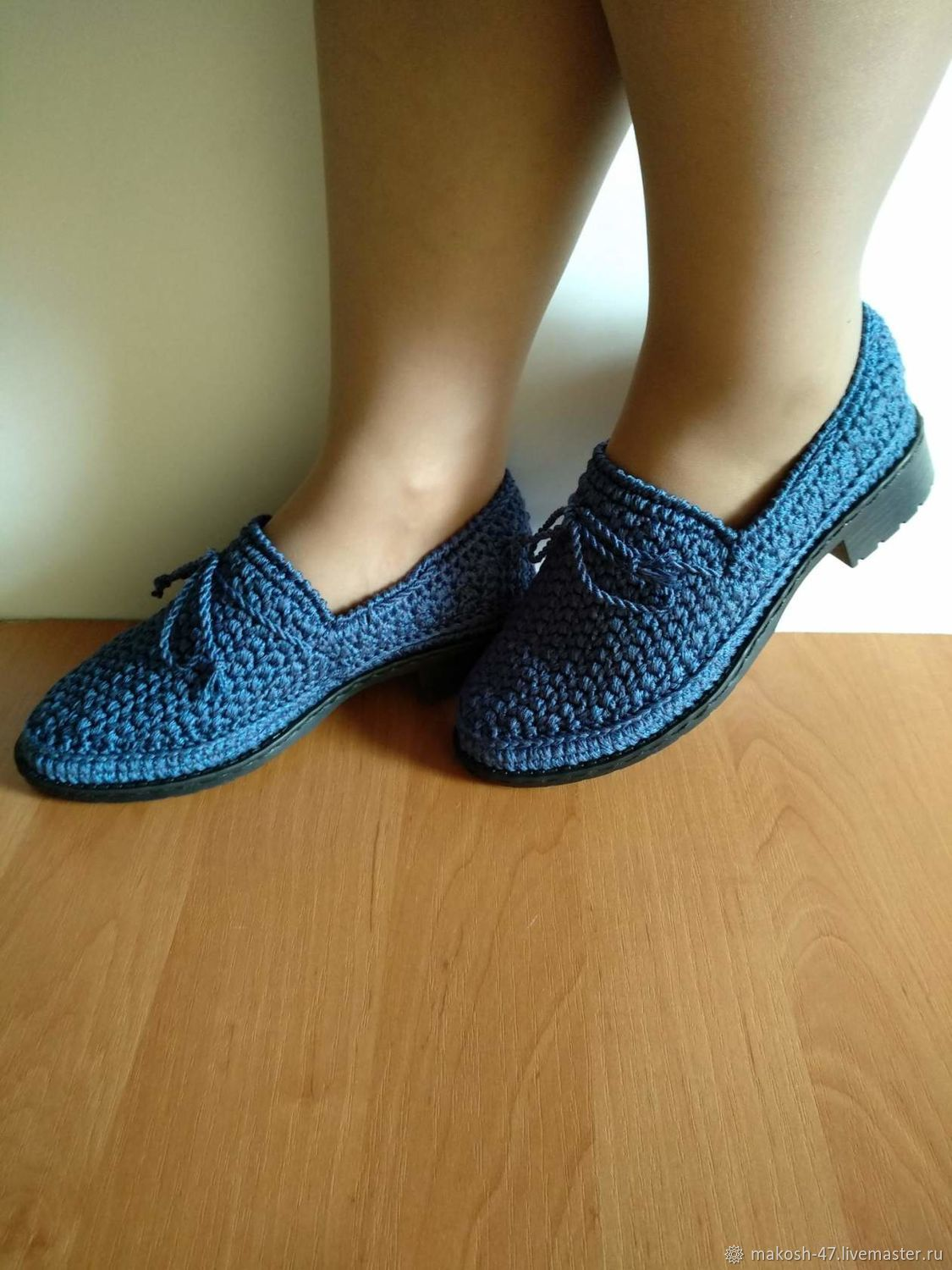 Knitted women's moccasins ( cotton with viscose ), Moccasins, Vyazniki,  Фото №1
