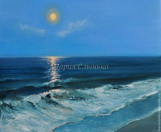 Картина маслом. Море. Лунная ночь.