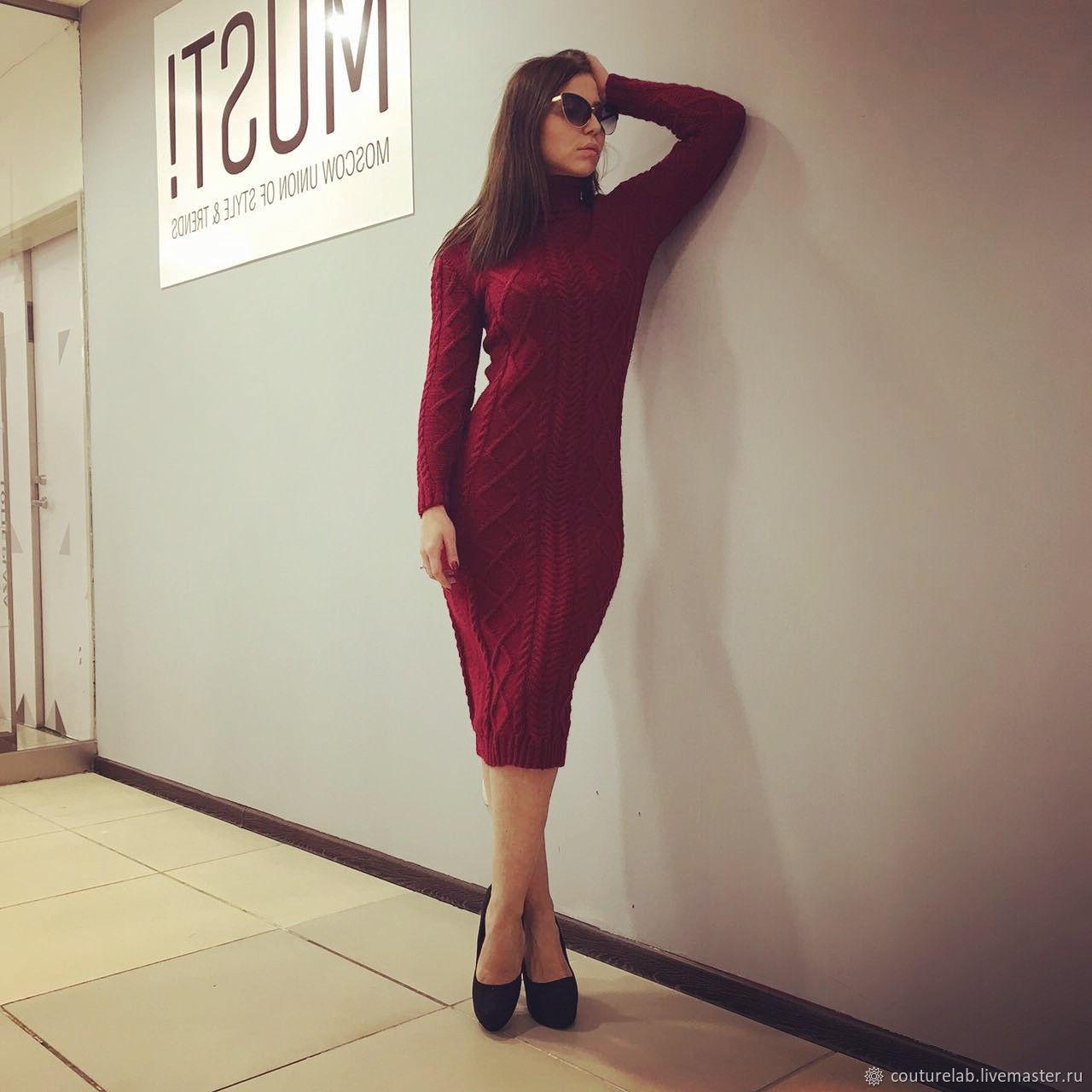 Бордовое платье вязаное – купить в интернет-магазине на ...