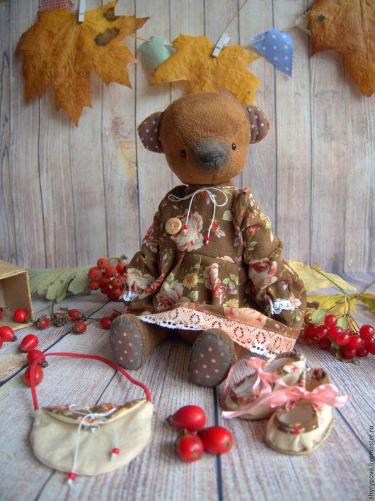 Мишки Тедди ручной работы. Ярмарка Мастеров - ручная работа. Купить Рябинка. Handmade. Коричневый, каина красная, Плюшевый мишка