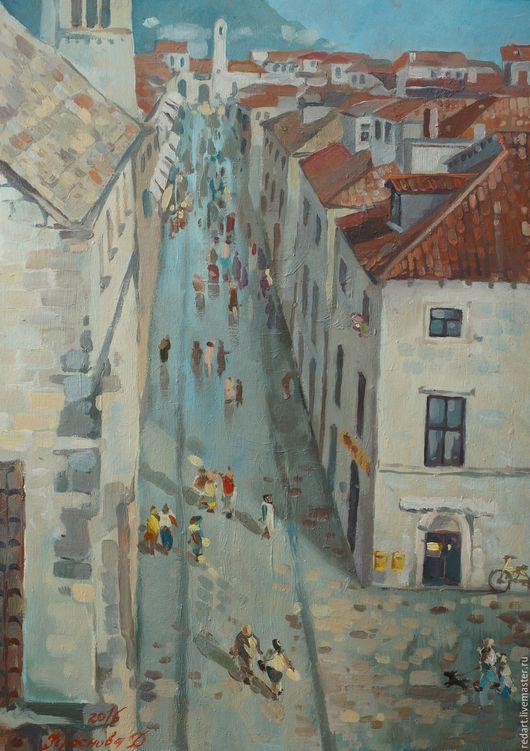 Город ручной работы. Ярмарка Мастеров - ручная работа. Купить Старая улица.. Handmade. Голубой, город, улица, картина